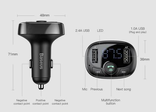 Baseus FM Transzmitter Bluetooth 4.2 Dual USB autós töltő